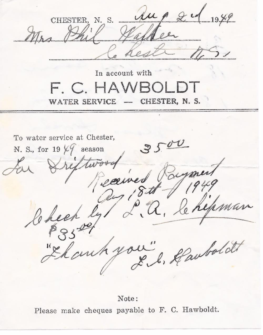 Une facture de Forman Hawboldt à Phil Walker d'un montant de 35$ pour la fourniture de l'eau pour la saison 1949. Marqué comme payé par Forman Hawboldt.
