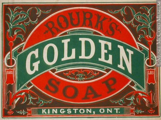 Logo du Savon Rourk's Golden, indiquant qu'il est fabriqué à Kingston en Ontario.