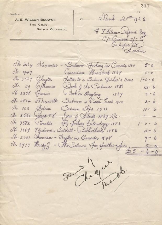Commande de 1923, écrite à la main, pour des livres concernant la pêche, de A. E. Wilson à Robert Wilson Reford.