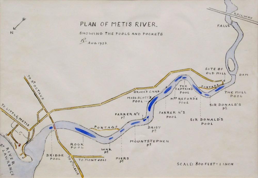 Lady Aileen Roberts a dessiné, à la main, cette carte illustrant chacune des fosses de la rivière Mitis, de l'embouchure aux chutes.