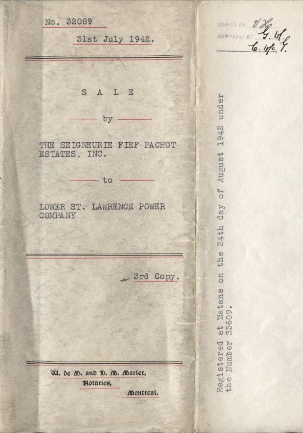 Page couverture du contrat de vente de la Seigneurie Fief Pachot à la Compagnie du Pouvoir du Bas-Saint-Laurent.