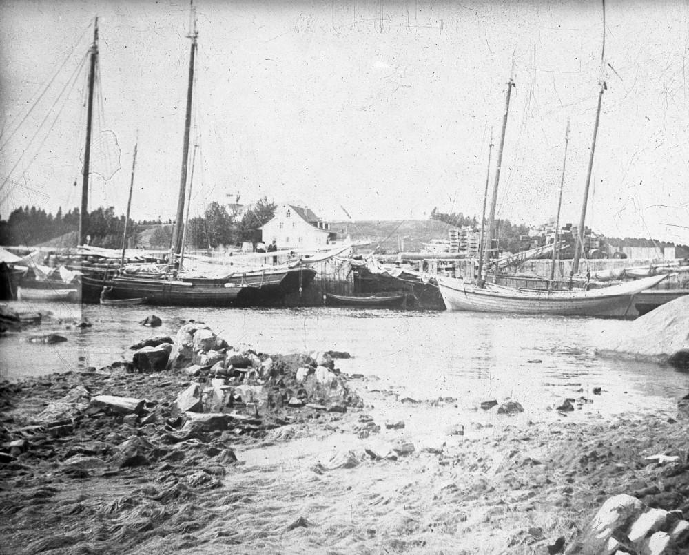 Le port de Grand-Métis occupé par des navires dans le début des années 1900