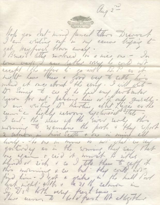 Extrait d'une lettre écrite par Elsie Reford destinée a son mari Robert Wilson Reford, relatant ses succès à la pêche sur la rivière Mitis.