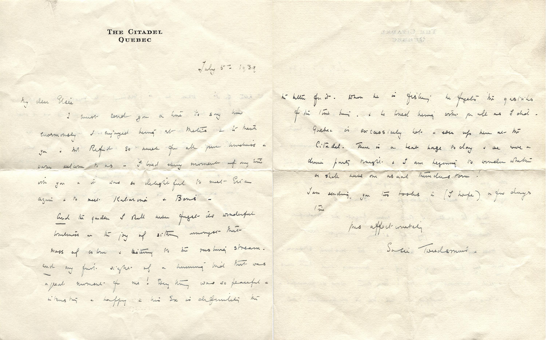 Lettre manuscrite datée du 5 juillet 1939, écrite par Susie Tweedsmuir, l'épouse du Gouverneur générale du Canada, Lord Tweedsmuir.