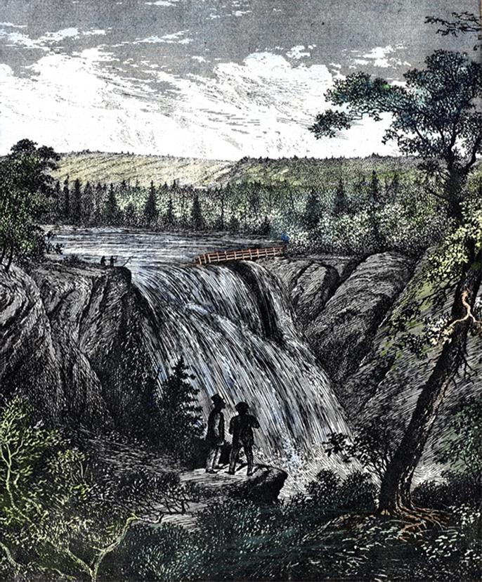 Lithographie représentant un paysage bucolique dans lequel deux personnages observent les chutes de la rivière Mitis du haut d'un rocher du côté gauche de la rivière.