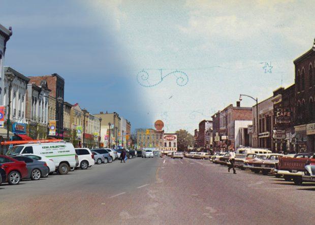 À gauche, un paysage de la rue modern; à droite, une image historique du même paysage.