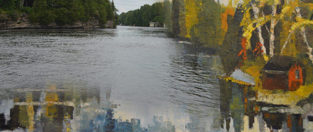 une image contemporaine d'une rivière et gorge fusionnée avec un pienture de la même scène