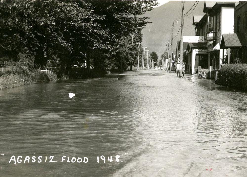 Photo en noir et blanc d'une rue inondée avec des bâtiments sur un côté et des arbres sur l'autre.