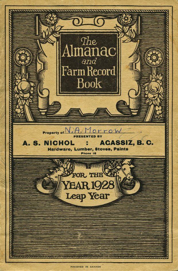 Image en couleur de la couverture du 1928 Almanac and Farm Record Book (almanach et livre des registres agricoles de 1928).
