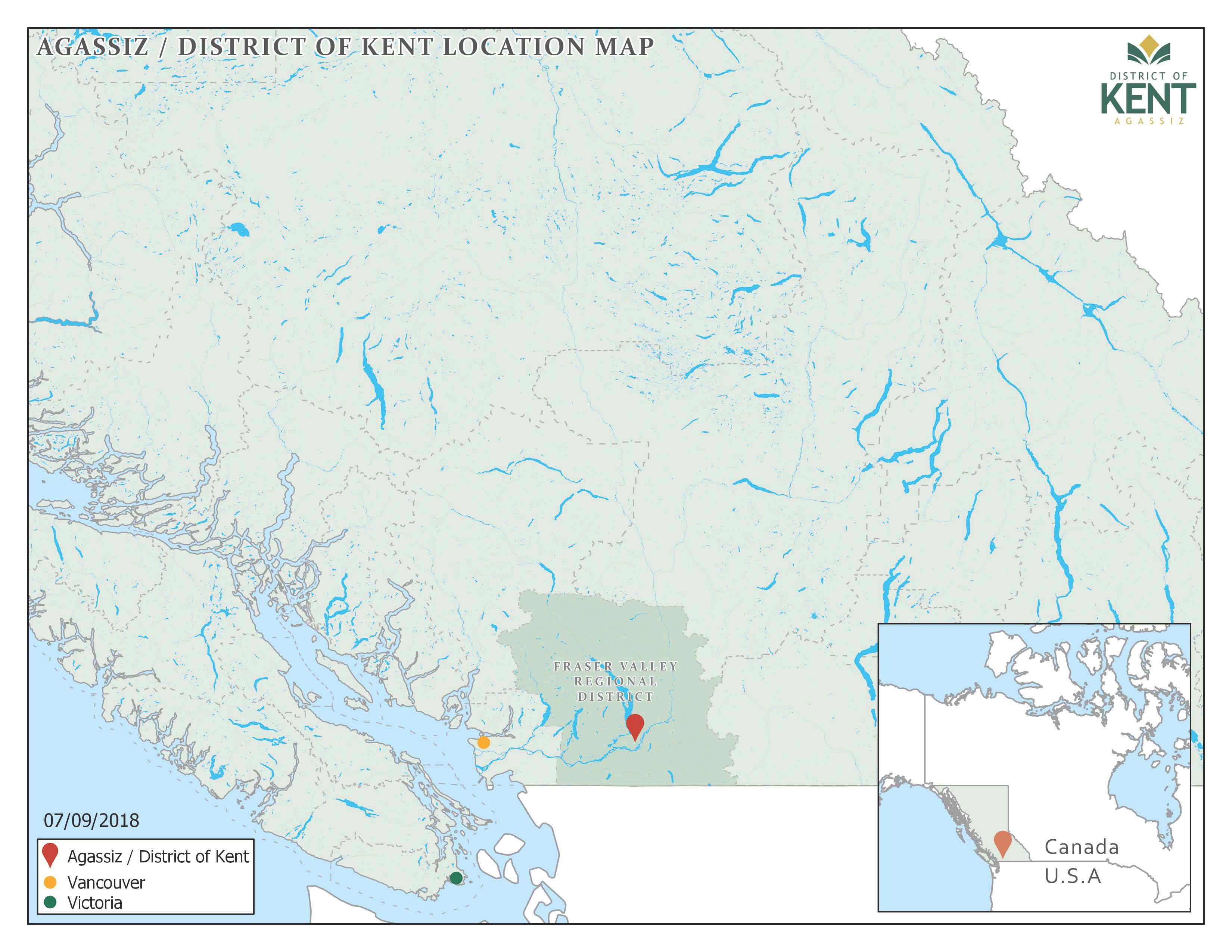 Image en couleur d'Agassiz et du district de Kent. Carte générale de la région par rapport à Vancouver et Victoria dans le sud de la Colombie-Britannique et la proximité d'Agassiz avec la frontière de l'État de Washington, 2018.