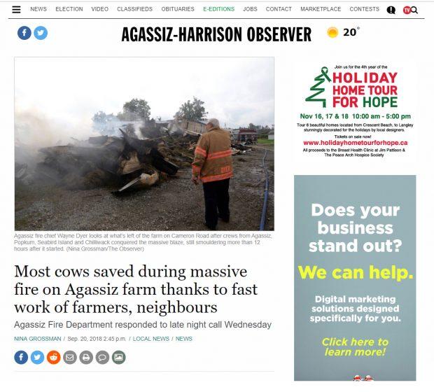 Capture d'images en couleur d'un article de journal numérique publié dans The Agassiz-Harrison Observer et portant sur l'incendie de la ferme laitière d'Agassiz, le 20 septembre 2018.