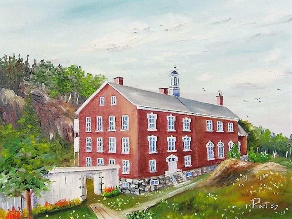 Peinture d'un bâtiment en briques rouges, de trois étages, entouré d'arbres et de végétation.