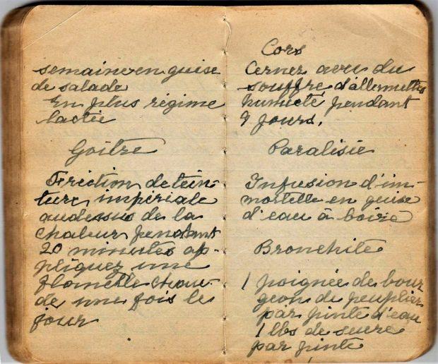 Petit carnet écrit à la main en lettres attachées avec une plume.