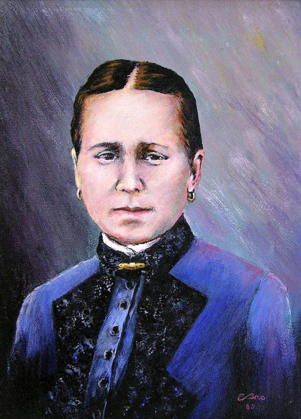 Peinture d'une femme en habit bleu, les cheveux coiffés avec une séparation au milieu.