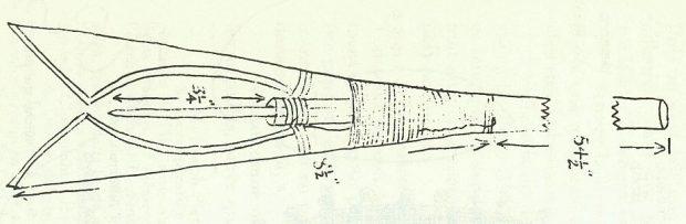 Dessin noir et blanc en aplat de la pointe d'une sorte de harpon servant à piquer en eau peu profonde le saumon et l'anguille. Cet outil est appelé nigogue.