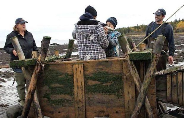 Une fillette et un garçon sont debout dans un coffre en bois destiné à garder les anguilles captives dans une pêche. Ils tiennent une anguille, leurs parents sont à proximité et les observent en souriant.