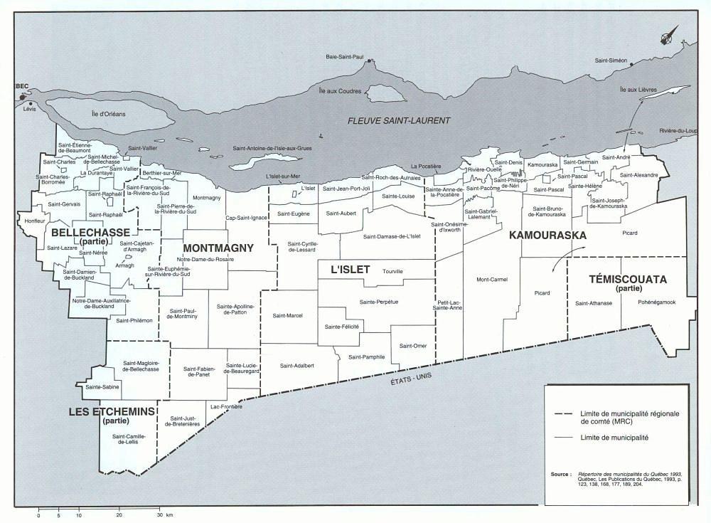 Carte géographique de la Côte-du-Sud sur laquelle sont indiqué les comtés, puis les villes et villages principaux.