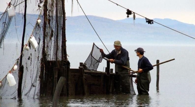 Deux hommes debout dans le fleuve près d'un coffre en bois servant à garder les anguilles captives dans une pêche. Ils ont de l'eau jusqu'aux genoux et tiennent un filet monté sur un cadre carré et muni d'un long manche. On voit des filets de pêche devant le coffre et des montagnes au loin.