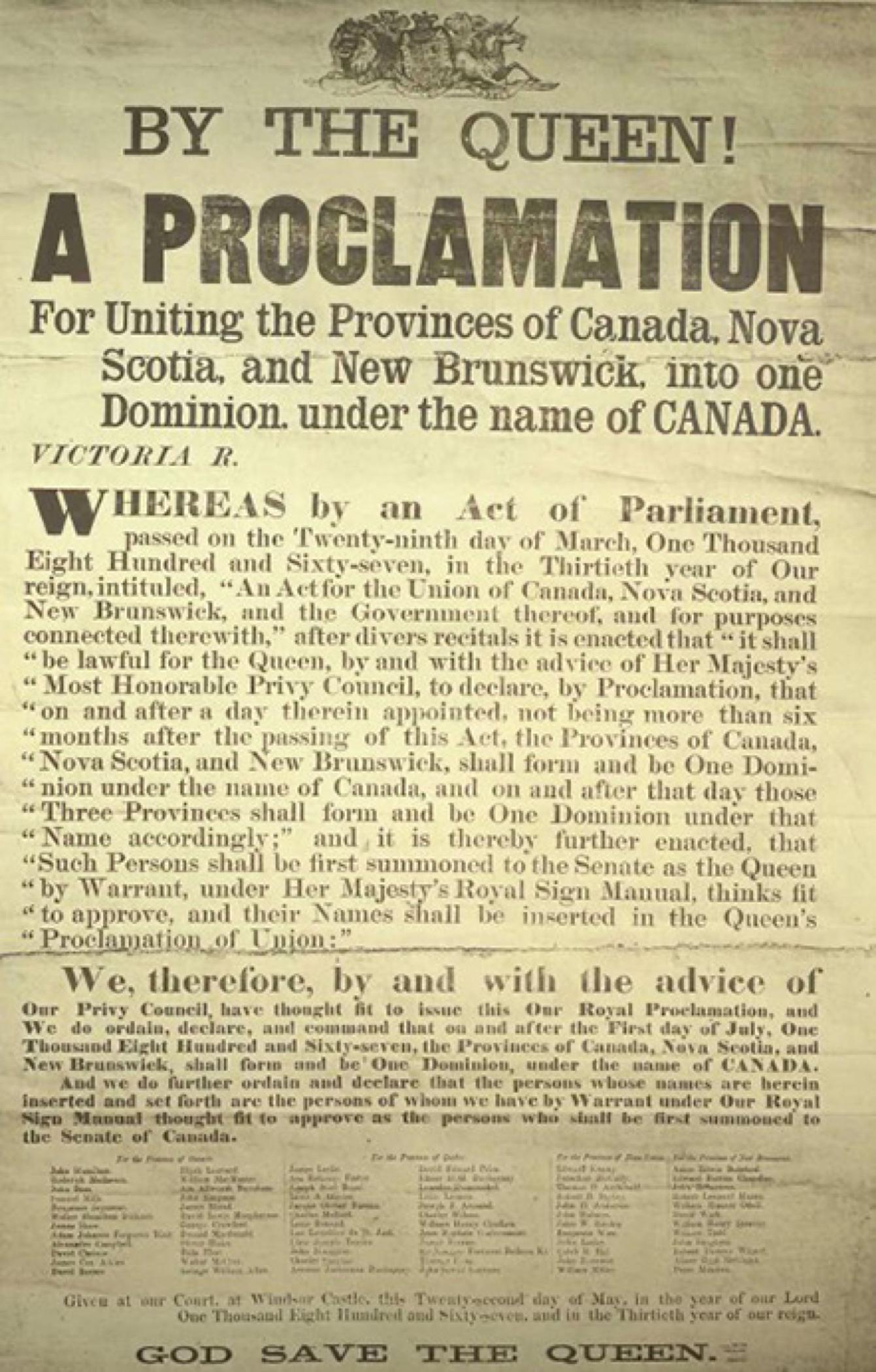 Photo de l'affiche annonçant la proclamation de la reine Victoria créant le Dominion du Canada, le 1er juillet 1867.