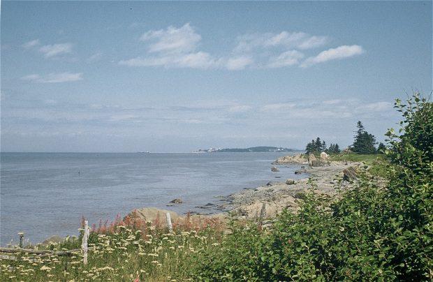 Photographie couleur d'un paysage fluvial (Rivière-du-Loup) où l'on aperçoit au premier plan une clôture en bois, des rochers, un rivage sablonneux et des arbustes en bordure du fleuve St-Laurent s'étendant sous un ciel bleu nuageux.