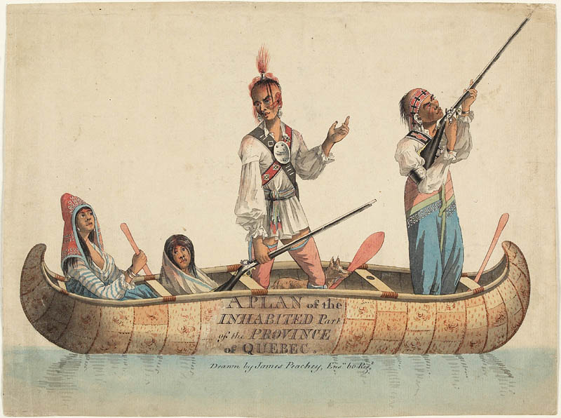Une aquarelle détaillée de quatre autochtones; deux femmes et deux hommes installés dans une pirogue en écorce de bouleau. L'une des deux femmes tient une pagaie et les deux hommes se tenant debout, munis d'un fusil; l'un d'eux à l'extrême droite, dirigeant son arme vers le ciel.