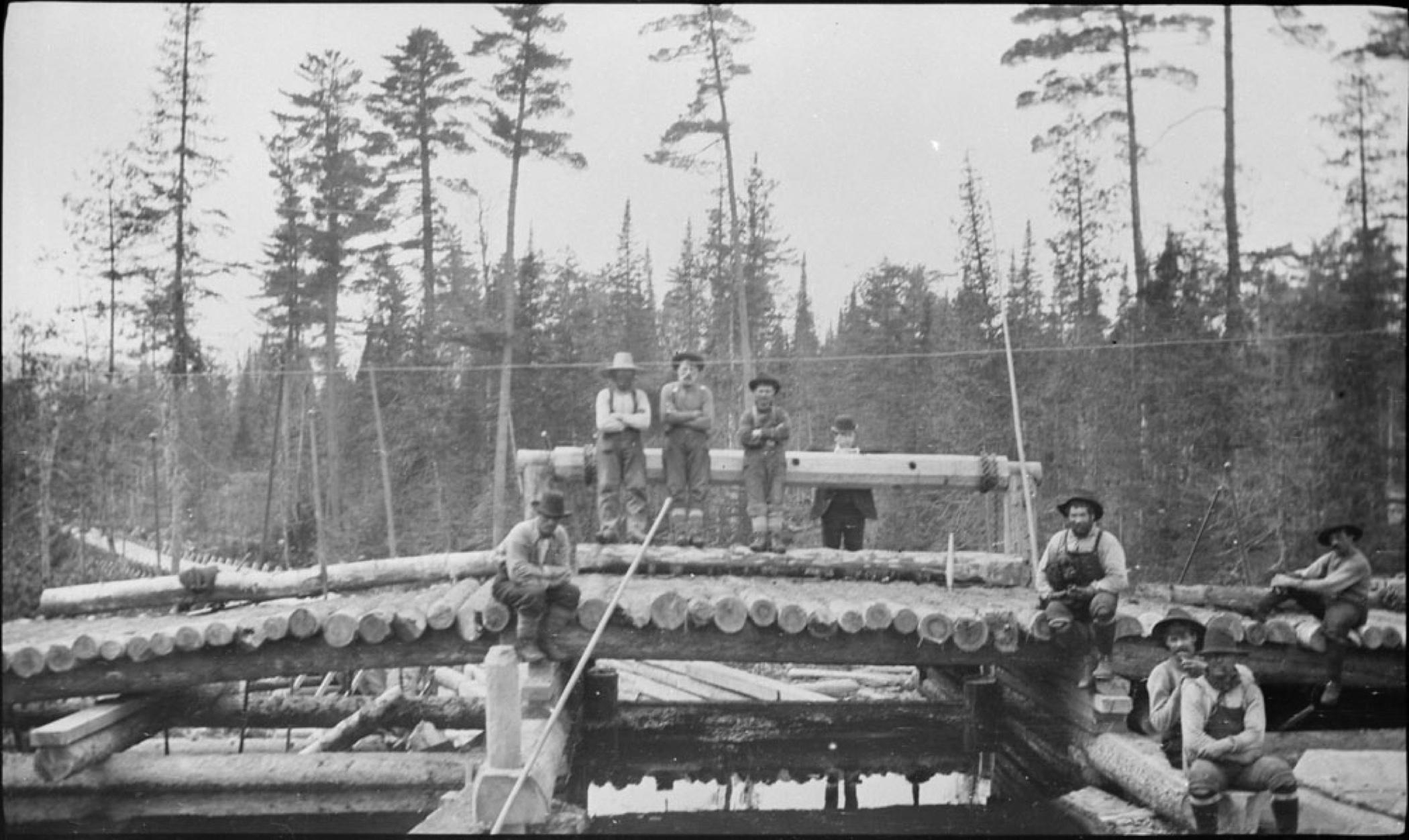 Photo noir et blanc montrant neuf ouvriers vêtus d'une salopette, d'une chemise de travail et coiffés d'un chapeau, assis sur une glissière à bois supportant une rangée de billots. En arrière-plan se dressent de grands arbres.