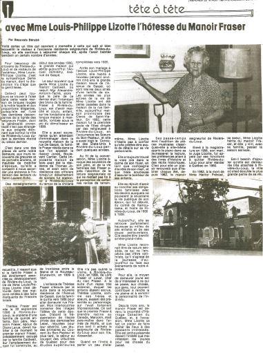 Article de journal titré Tête-à-tête avec Mme Louis-Philippe Lizotte, l'hôtesse du Manoir Fraser qui comprend trois photographies, une de Mme Lizotte à l'extérieur du manoir, une autre de Mme Lizotte à l'intérieur et une dernière de l'extérieur du Manoir.