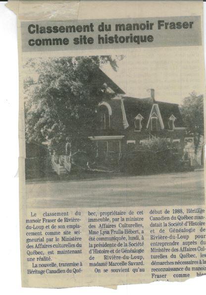 Article de journal titré Classement du Manoir Fraser comme site historique qui comprend une photo du Manoir.
