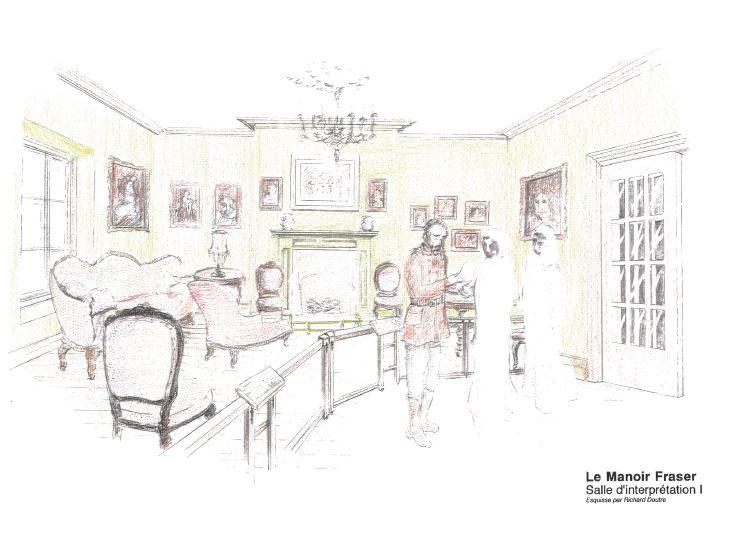 Dessin couleur représentant un salon richement décoré, avec de nombreuses chaises, des cadres accrochés aux murs et un foyer. À l'avant-plan, un homme semble donner des informations à deux personnes, dont leurs seuls visages sont dessinés.