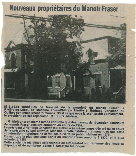 Article de journal titré « Nouveaux propriétaires du Manoir Fraser » qui comprend une photo du manoir.