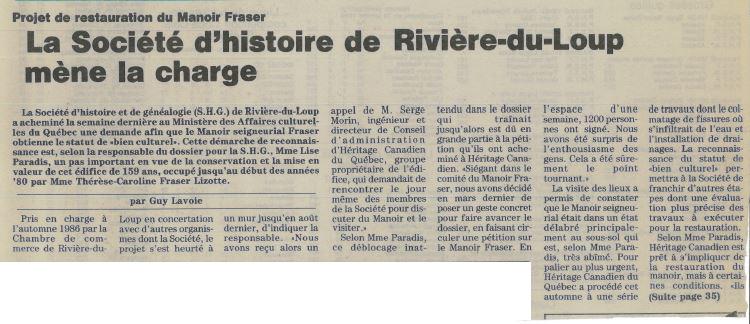 Article de journal titré La Société d'histoire de Rivière-du-Loup mène la charge.