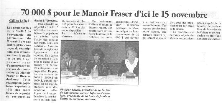 Article de journal dont le titre est 70 000$ pour le Manoir Fraser d'ici le 15 novembre» qui comprend une photographie d'un homme et deux femmes assis à une table.