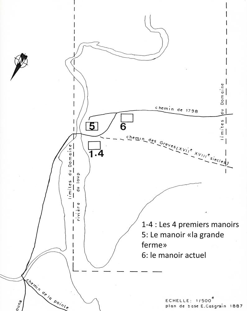 Image noir et blanc. Détail de la carte du domaine seigneurial montrant l'emplacement des manoirs de la seigneurie près de la rivière.