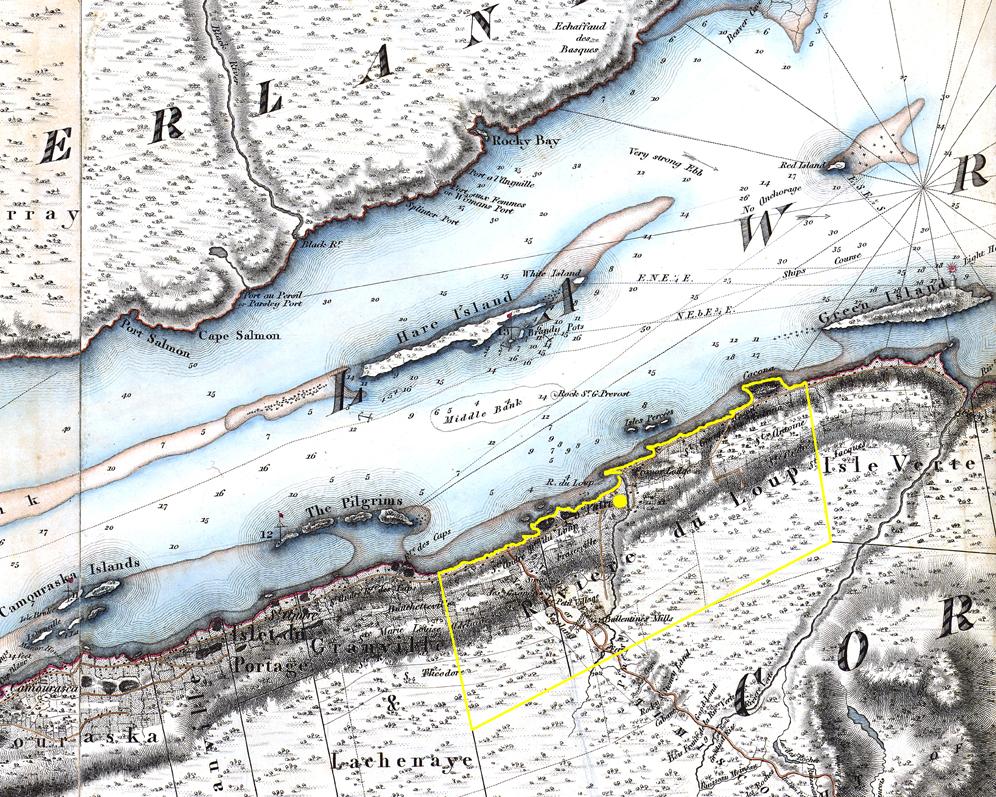 Image couleur. Détail d'une carte montrant les limites de la seigneurie de Rivière-du-Loup.