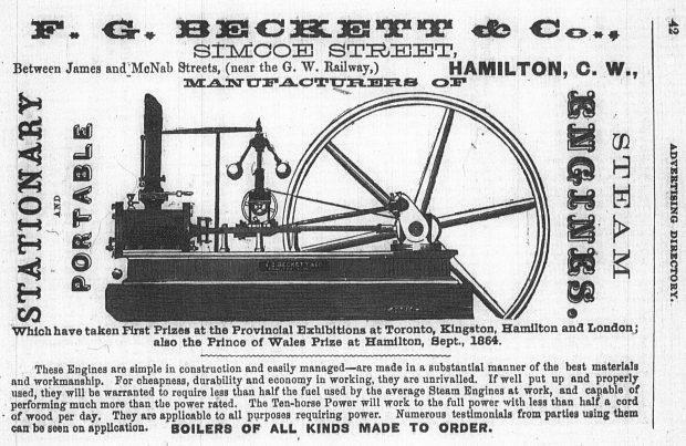 Annonce imprimée d'un moteur à vapeur de F.G. Beckett, soulignant le premier prix remporté par les moteurs à vapeur stationnaires et portatifs aux expositions provinciales. L'annonce comprend une illustration du produit.