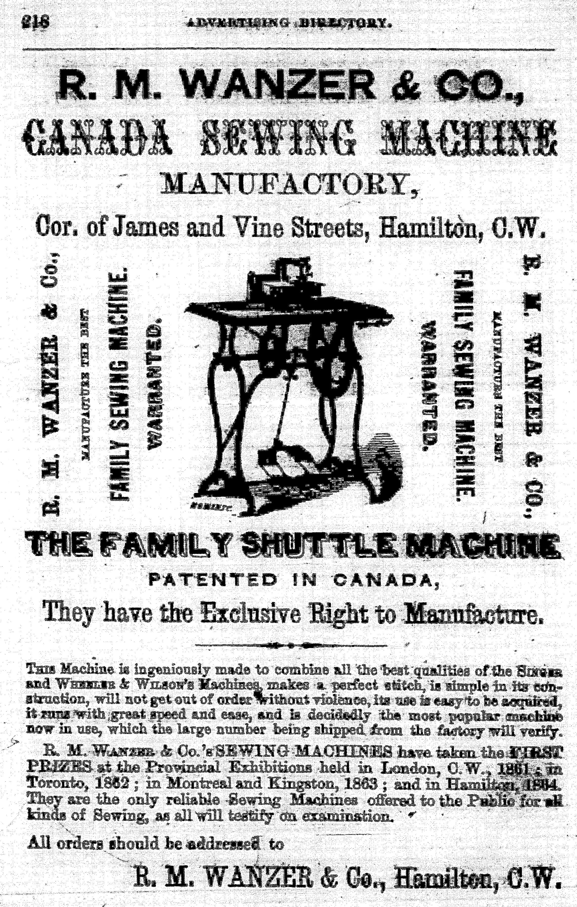 Annonce imprimée de R.M. Wanzer & Company mettant en vedette la toute nouvelle machine à coudre familiale à navette du fabricant. La publicité explique comment passer une commande et comprend une illustration du nouveau produit.