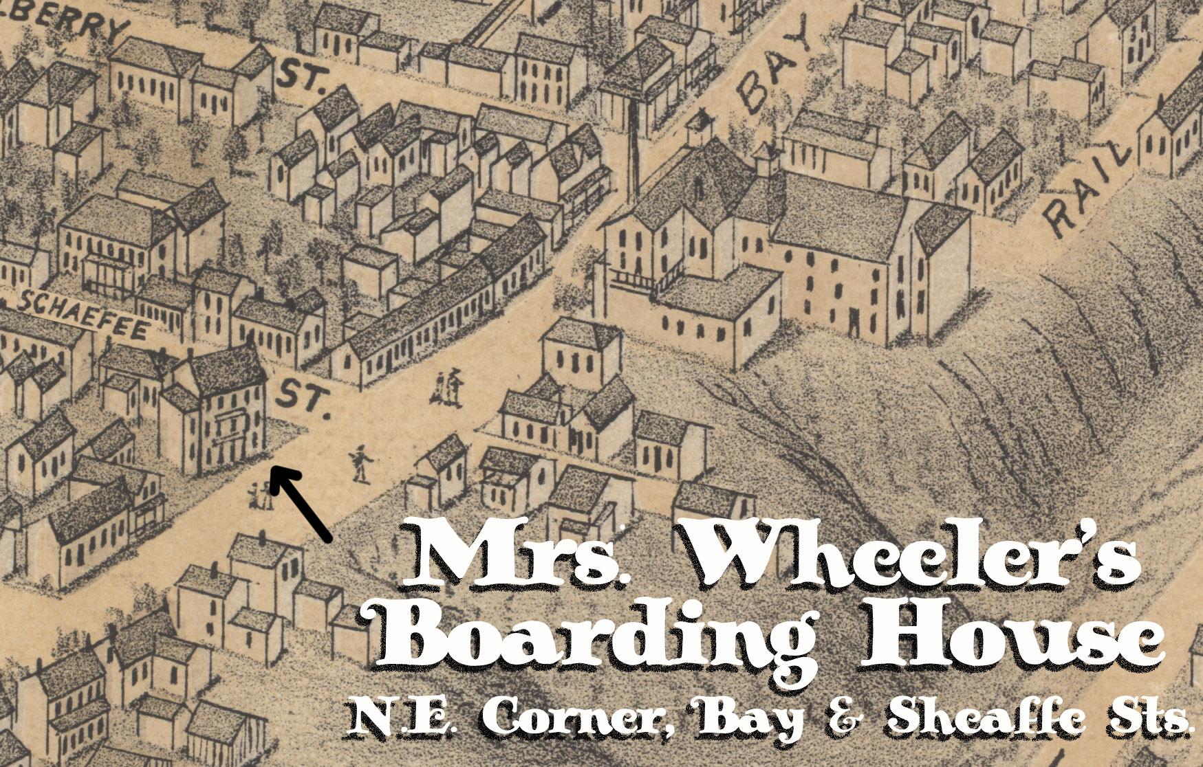 Carte illustrée montrant une partie de la ville d'Hamilton au milieu du XIXe siècle. On peut voir sur la carte illustrée des maisons et d'autres structures, ainsi qu'une colline escarpée sur la droite de l'image. Un immeuble de trois étages à l'angle nord-est des rues Bay et Sheaffe est identifié comme la maison de pension de Mme Wheeler.
