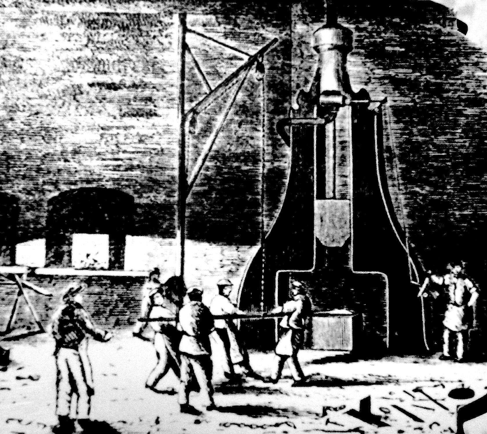 Illustration en noir et blanc montrant quatre forgerons en train d'attiser les flammes d'un marteau-pilon à vapeur, tandis que trois autres ouvriers les observent. On peut voir les ouvriers à l'avant-plan et l'atelier industriel à l'arrière-plan.