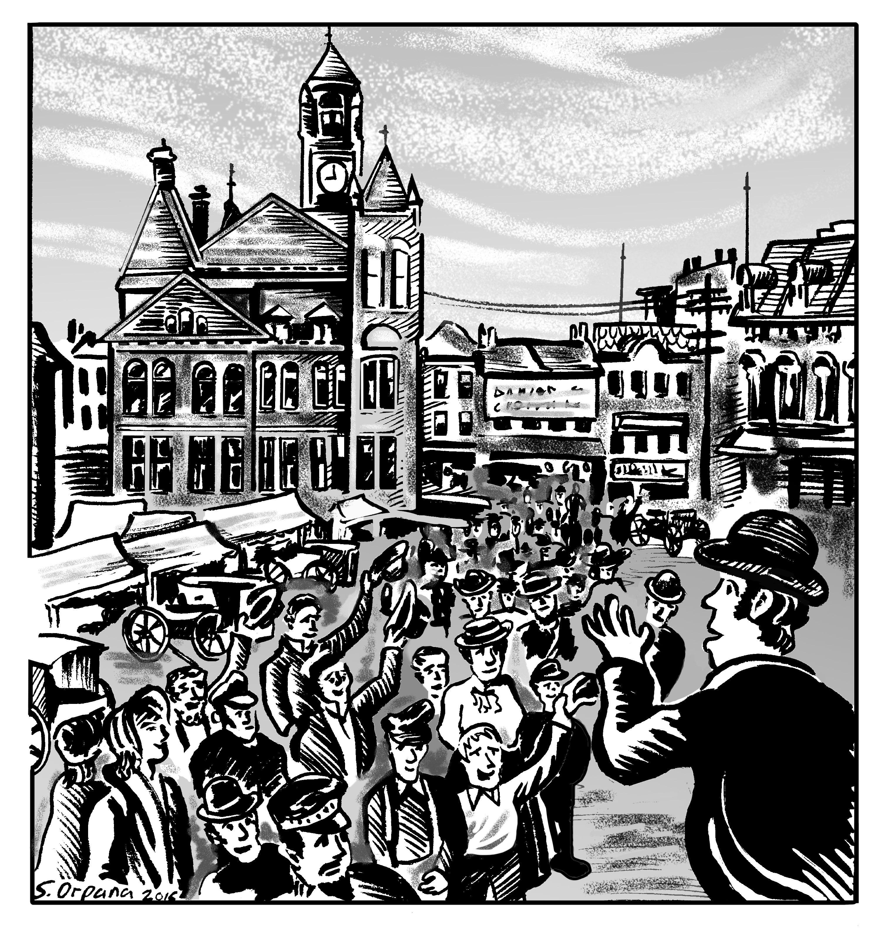 Illustration de James Ryan s'adressant à une foule à la place Old Market. On voit James Ryan de profil tandis qu'il se tient devant une foule de spectateurs au centre du marché. Aux bords de l'image, on peut aussi voir des étals extérieurs temporaires, ainsi que des bâtiments commerciaux.