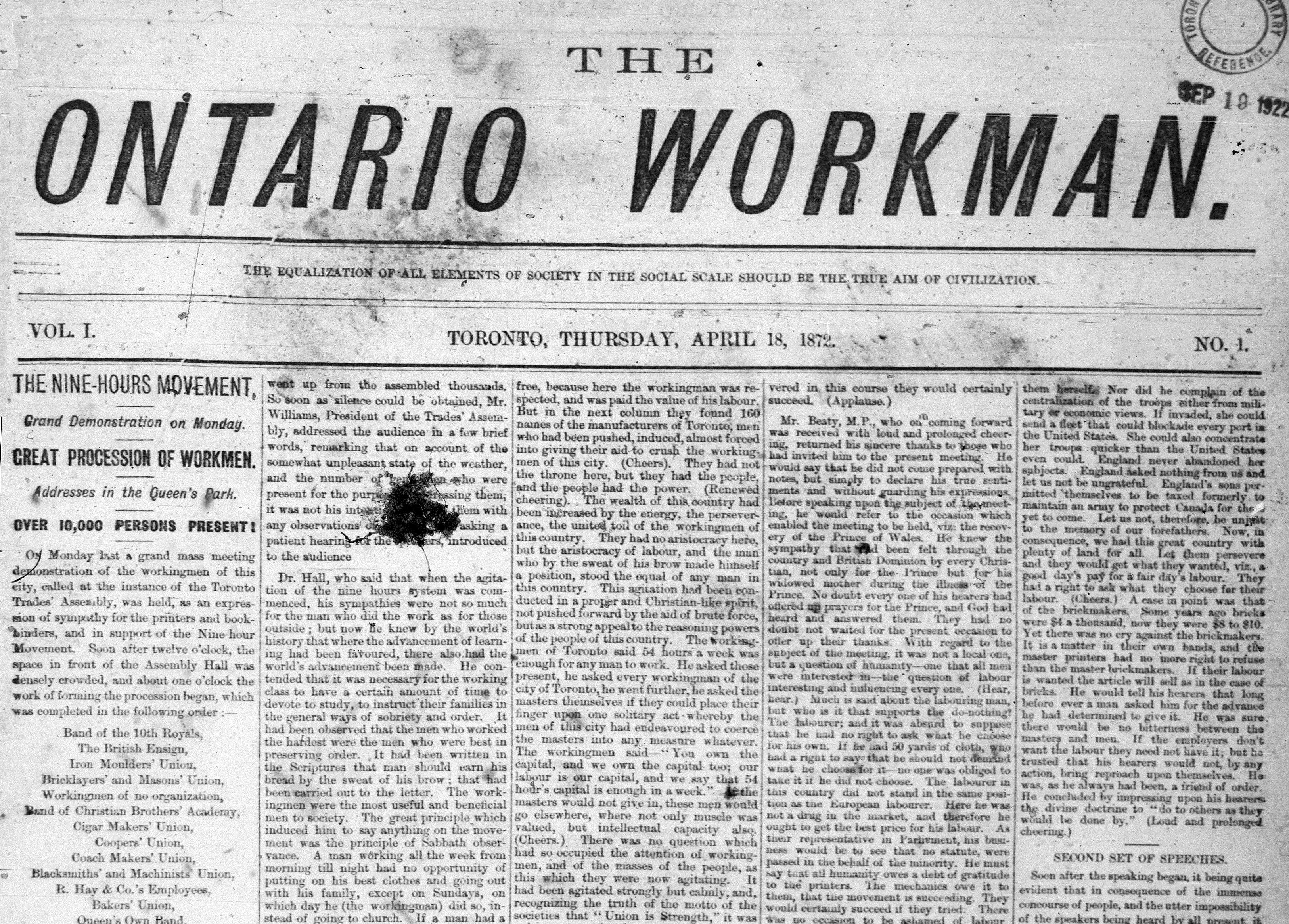 La première page du journal Ontario Workman annonçant une grande manifestation de la Ligue des neuf heures.