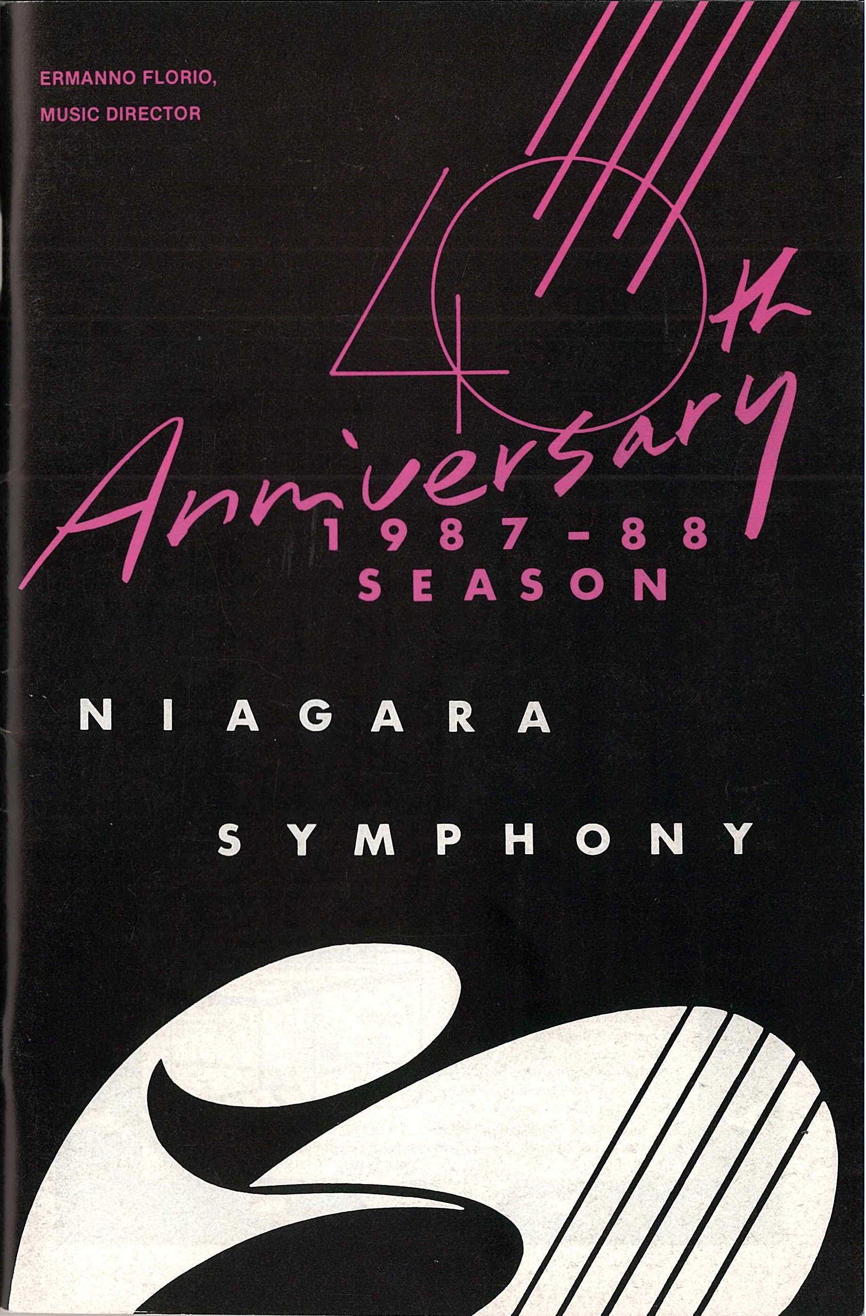 Le programme du 40ième anniversaire en bleue, blanc et rose
