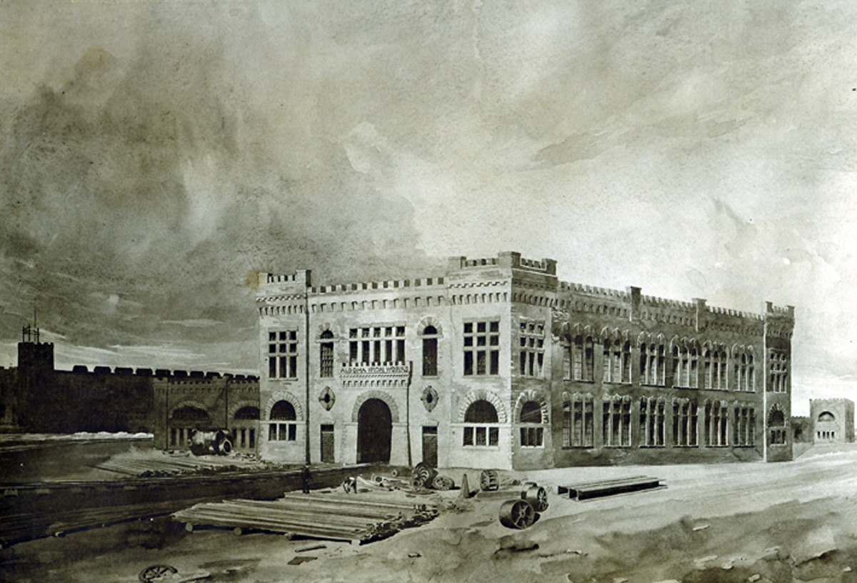 Dessin d'architecte de l'atelier d'usinage datant de 1895.