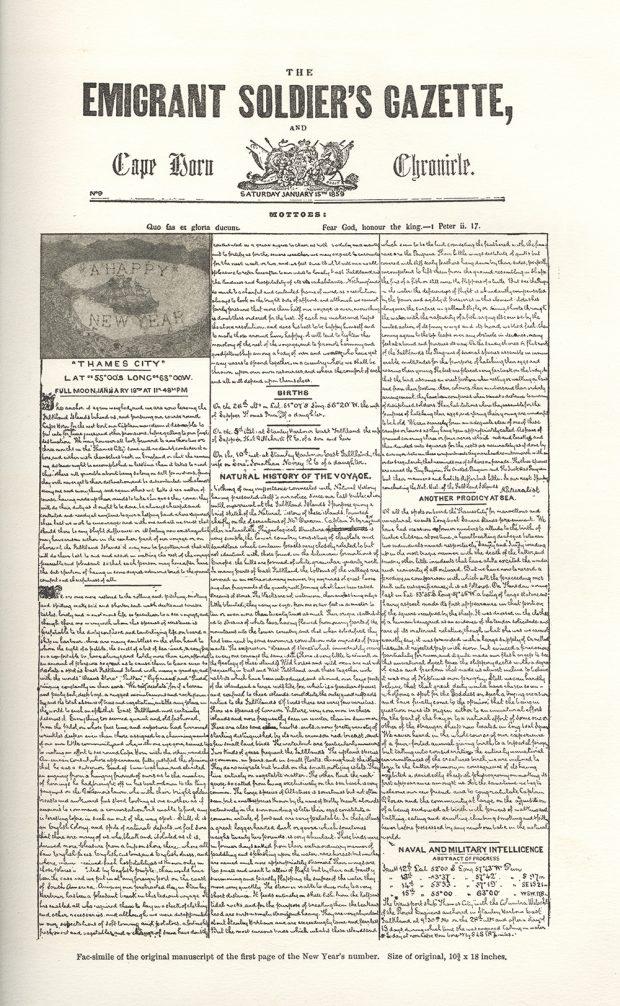 Un facsimilé de 1907 de la première page du numéro du 15 janvier 1859 du journal écrit à la main The Emigrant Soldiers' Gazette and Cape Horn Chronicle.