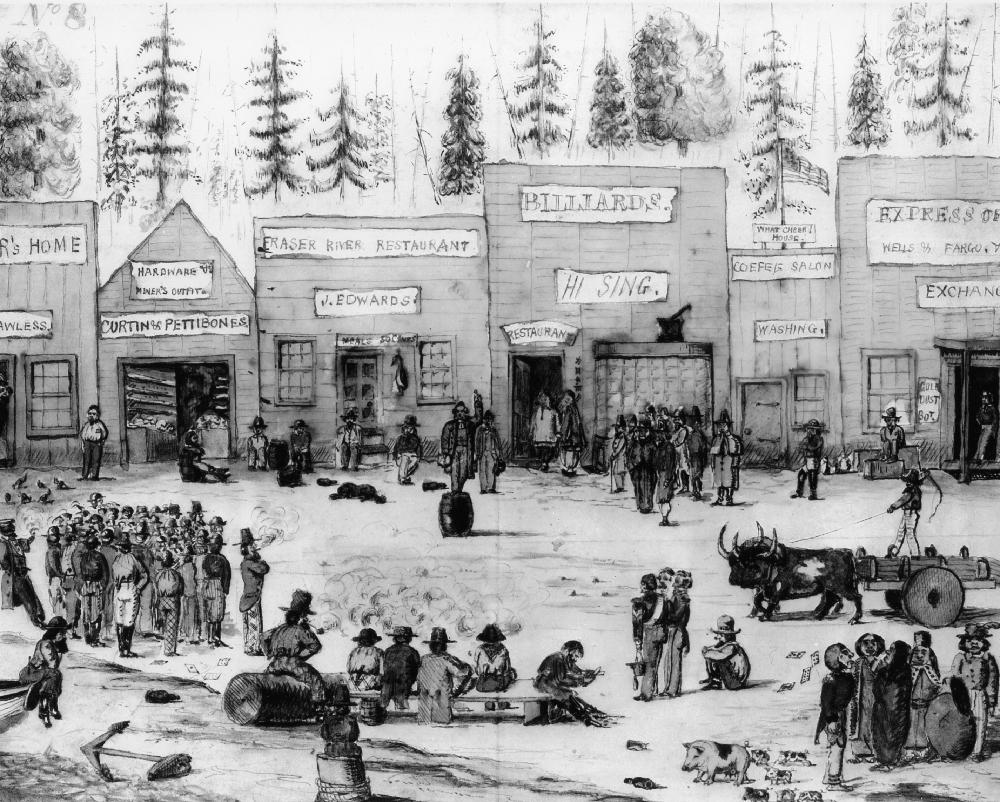 Une scène dessinée à la main du canton de Derby, autour de 1859. L'image présente une zone commerciale achalandée avec, à l'arrière-plan, la façade d'une série de commerces divers. Des gens réunis sur la place écoutent le discours d'un homme qui s'adresse à eux, debout sur un tonneau, au centre de l'image.