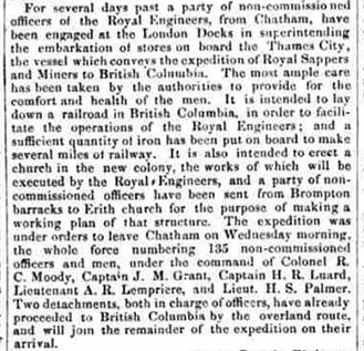 Une coupure de presse du journal The Cork Daily Reporter datant de 1858. On y traite du départ de soldats des Royal Engineers et de sous-officiers pour le Canada et du projet de construction d'un chemin de fer en Colombie-Britannique.