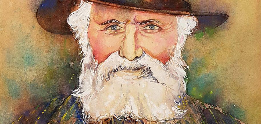 Un portrait à l'aquarelle d'un homme barbu âgé portant un chapeau brun à large bord.