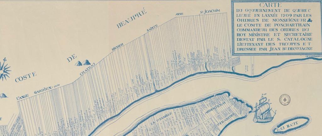 Carte d'archives montrant une partie du territoire de la Côte-de-Beaupré (L'Ange-Gardien, Château-Richer et Sainte-Anne-de-Beaupré) et les divisions des terres en bandes rectangulaires perpendiculaires au fleuve Saint-Laurent. Chaque bande de terre porte le nom de son propriétaire.