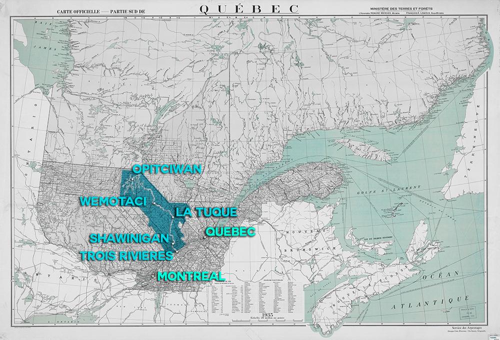 Carte géographique illustrant l'étendue que traverse la rivière, d'Opitciwan à Trois-Rivières en passant par Wemotaci, La Tuque et Shawinigan. La carte situe également la rivière par rapport à la ville de Québec, 130 kilomètres plus à l'est