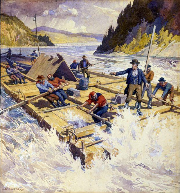 Aquarelle en couleur d'un train de bois sur une rivière avec de forts rapides. Plusieurs hommes pagayent sous la direction d'un homme qui dirige le radeau fait de billots de bois.
