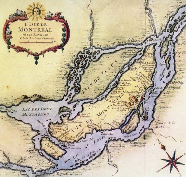 Carte ancienne en couleur aux teintes de jaune et lavande représentant l'île Jésus et l'île de Montréal. En haut à gauche, un encadré ornementé présente le titre. Une rose des vents se retrouve en bas à droite.
